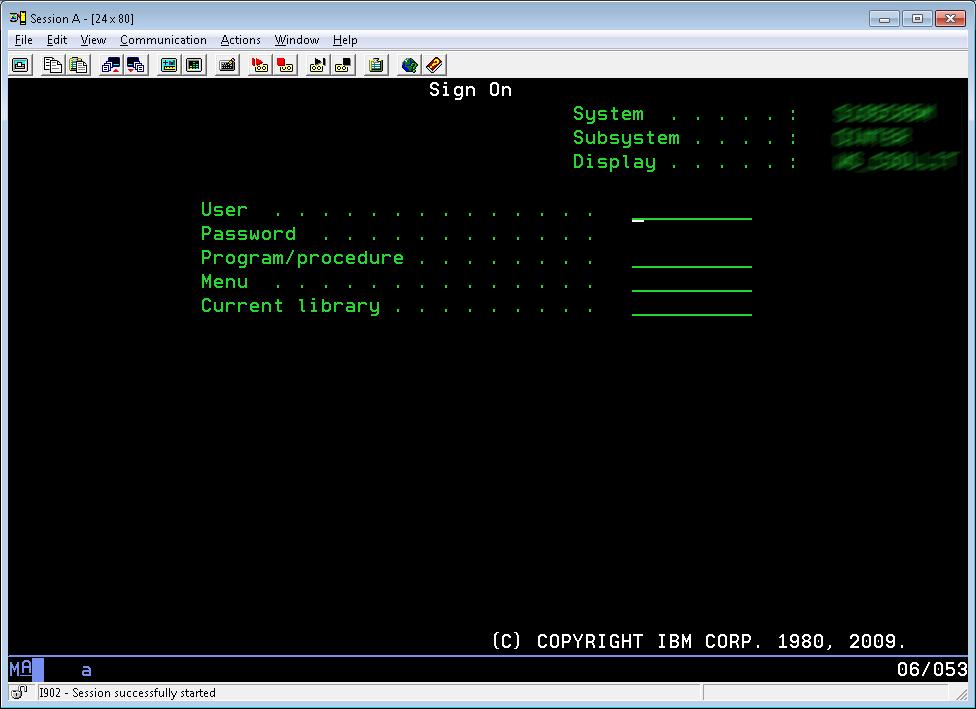 IBM iSeries Login
