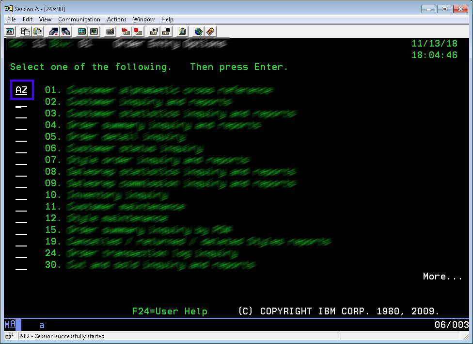 Run Menu Command on IBM Server