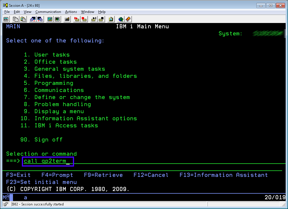 IBM Call QP2TERM