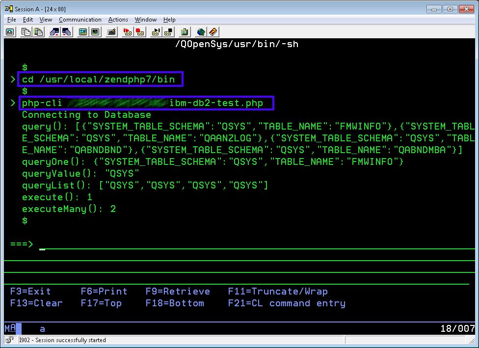 IBM Run PHP Script
