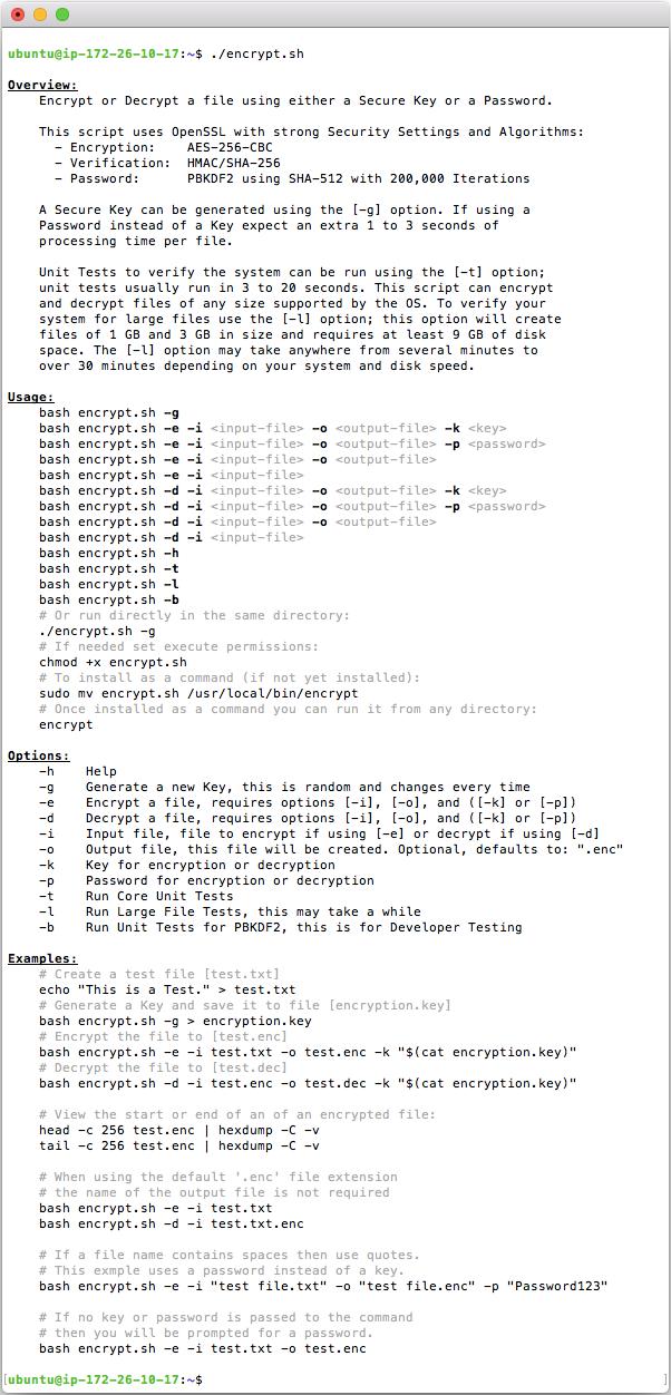 Bash [encrypt.sh] Help Screen