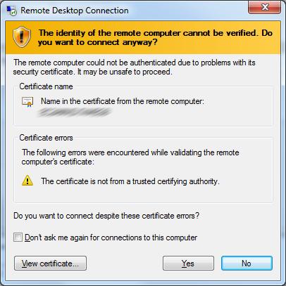 Remote Desktop Connection (RDC) Warning