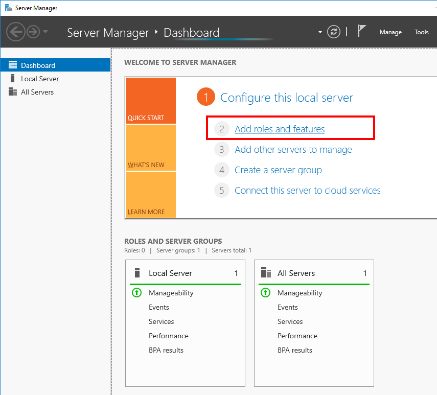 Windows Server Manager - Add Roles and Features