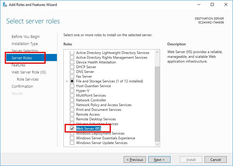 Windows Server Manager - Select IIS