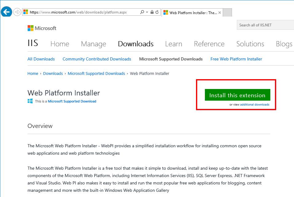 Microsoft Web Platform Installer Website