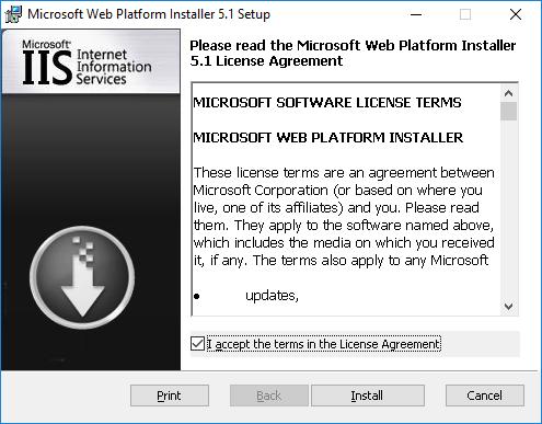Web Platform Installer Wizard