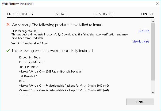 Web Platform Installer - PHP Installed