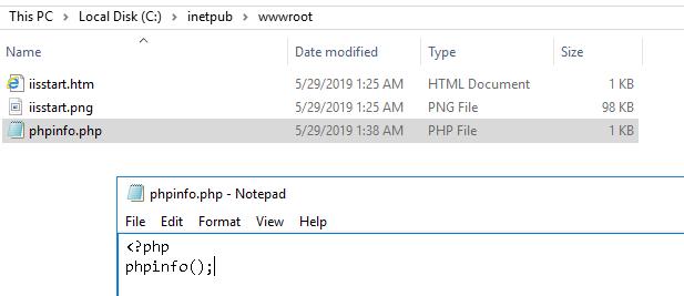 IIS Create phpinfo File in wwwroot