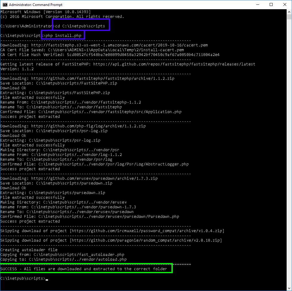 FastSitePHP Install Script